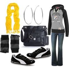 Cozy wear  with some style...just switch that hoodie out for a Baltimore Ravens hoodie :)