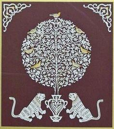 Arslanlar ve bahar ağacında kuşlar(Yekpare simetrik kesim kâğıt oyma)Dürdane Ünver