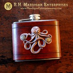 Flask copper octopus on brown leather 5oz by MardiganEnterprises
