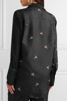 Victoria, Victoria Beckham - Printed Silk-twill Shirt - Black - UK