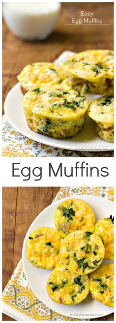 Vegetable, Ham and Cheese Egg Muffins - easy and delicious breakfast idea! Huge hit with kids! @CrunchyCreamySw