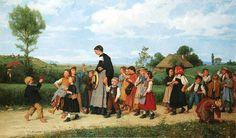 Albert Anker - Sur le chemin de l'école (1872)