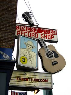 Ernest Tubb Records Shop with Hank Williams picture and a guitar!  Wonderful!