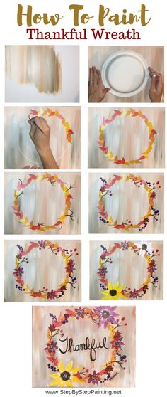 How To Paint A Fall Wreath How To Paint A Thankful Wreath Step By Step Painting The post How To Paint A Fall Wreath appeared first on Diy Flowers. Easy Canvas Painting, Acrylic Painting For Beginners, Simple Acrylic Paintings, Autumn Painting, Acrylic Painting Tutorials, Step By Step Painting, Beginner Painting, Acrylic Painting Canvas, Artist Canvas