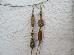 Asymmetrical Dangle Earrings, Tribal Earrings, Mixed Media Earrings, Assemblage…