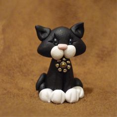 Miniature Black Kitty Cat Figure Polymer Clay.