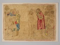 The Baptism of Christ - Silk embroidery on linen - Florence, Italy - 14th century