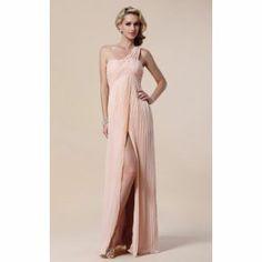 Sheath/ Column One Shoulder Floor-length Chiffon Elastic Woven Satin Evening Dress