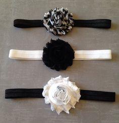 Black & White Shabby Flower Baby Headband Set on Etsy, $9.00