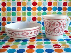 Cross stitch dinnerware by Pyrex