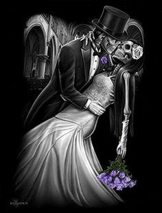 True Love By David Gonzalez Canvas Giclee by David Gonzales Art - Inked Boutique Beautiful Dark Art, Dark Love, Og Abel Art, David Gonzalez, Totenkopf Tattoos, Lowrider Art, Dark Art Illustrations, Sugar Skull Art, Sugar Skulls