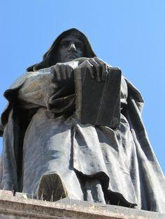 The Statue of Giordano Bruno, created by Ettore Ferrari, was erected at Campo de' Fiori in Rome, Italy, in 1889.       Campo de Fiori ~ Rome, Italy