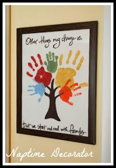Family Handprint Tree - we put it on a canvas with room to add more hand/footprints. I'm excited to find a good place in the house to hang it!