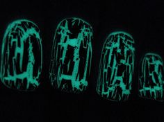 black shatter over glow in the dark polish