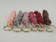 These linen skeins stitch markers will impress your knitting friends! The set consists of six mini linen skeins.  All markers can also be used as charms for bracelets, necklaces, decoration, key...