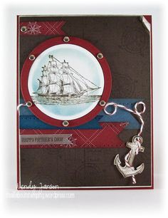 BY Wendy Janson - It's All About Stamping - 061013 Stamps:  The Open Sea, Paper:  Nautical Expedition, Whisper White, Cherry Cobbler, Not Quite Navy, Early Espresso, Ink:  Early Espresso, Not Quite Navy, Accessories:  Sponges, Silver brads, Mat pack, Bakers Twine, Paper Piercer, Nestabilities,  (the sentiment was a left over from some gifts I made last year and is just printed on shiny silver paper)
