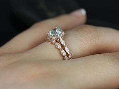 Christie 14kt Rose Gold Aquamarine and Diamonds Cushion Halo WITH Milgrain Wedding Set  (Other metals and stone options available)
