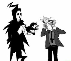 Lord Death, Spirit Albarn, Maka Albarn, Death The Kid, childhood, cute; Soul Eater