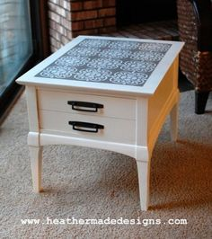 Thrift store side table makeover (before and after) from HeatherMade Designs
