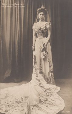 Princess Beatrice of Edinburgh, later of Saxe-Coburg-Gotha when her father became Duke, in court gown,1907 (1884 –1966) She was a member of the British Royal Family, granddaughter of Queen Victoria. She was the wife of Alfonso de Orleans y Borbón, Infante of Spain, Duke of Galliera. Sister of Marie of Romania.