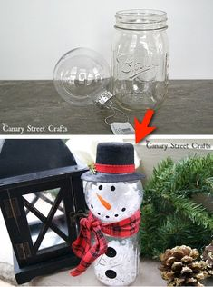 Check out this DIY Christmas Craft for your home! Made with a mason jar and ornament. Such a creative, cheap and easy idea for the holidays! DIY Snowman Home Decor