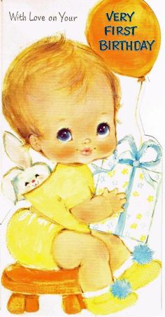 Vintage Birthday Card Very First Baby Blue Eyes Bunny Buzza Cardozo 1960'S | eBay