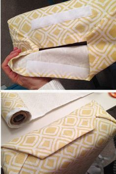 Make DIY Cushion Slip Covers: Refurbish pillows, cushions, and more with this super easy, no-sew upholstery method. hacks 21 Genius RV Storage Ideas That Can Improve Any Small Space Camper Hacks, Camper Trailers, Caravan Hacks, Travel Trailers, Rv Travel, Travel Hacks, Travel Trailer Decor, Shasta Trailer, Trailer Tent