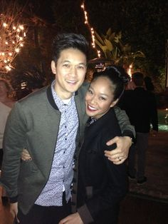 Harry Shum, Jr & Shelby Rabara at Shadowhunters premiere party!