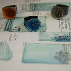 Caroline Finlay - Jeweller, silver and enamel. Wide ring- sea life series.