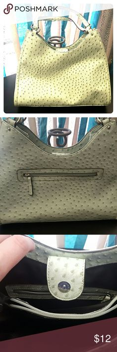 Mint green ostrich print handbag This bag is the prettiest shade of mint green.  In geeat condition inside and out besides a little bit of wear on the straps.  A steal for the price! Bags Shoulder Bags