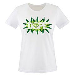 Comedy Shirts - DOPE - Hanfblatt - mujer T-Shirt camiseta - blanco / verde tamaño XS #regalo #arte #geek #camiseta