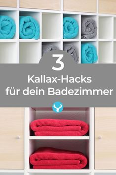 With these hacks for your Ikea Kallax shelf you create more storage space and order in the small or large bathroom. Towels, cosmetics, medicine chest and cleaning supplies can now be efficiently stowed away. Ikea Kallax shelf hacks for your bathroo Diy Ikea Kallax, Ikea Kallax Regal, Diy Hacks, Ikea Hacks, Baby Zimmer Ikea, Ikea Hack Bathroom, Bathroom Ideas, Bathroom Towels, Regal Bad