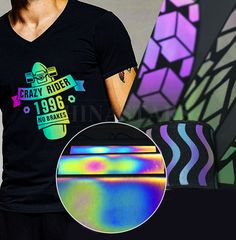 The rainbow reflective heat transfer vinyl can be cut by plotter or laser machine into graphics, characters, and logos and transferred to all kinds of fabrics. Now, this material has been the new favorite of the fashion world. Film Logo, Laser Machine, Kinds Of Fabric, Heat Transfer Vinyl, Night Time, Fabrics, Characters, Rainbow, Graphics