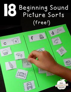 Free beginning sounds picture sorts. Great phonics activity for preschool or kindergarten!