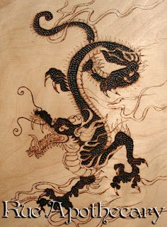 Chinese Dragon Pyrography (wood burning) by Deven Rue