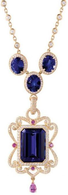 The beautiful Aurora pendant by Erica Courtney: tanzanite, diamonds, and pink sapphires in rose gold.