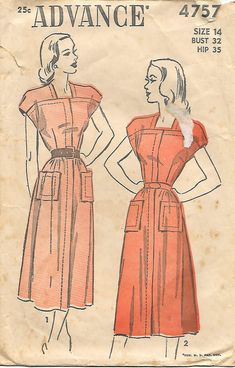 Advance 4757 - 1940s Patch Pocket Dress Sewing Pattern, offered on Etsy by GrandmaMadeWithLove