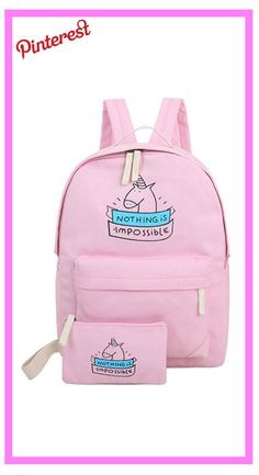 2371927e9 Mujeres mochila de lona linda unicornio impresión de la historieta bolsas  mochilas para las muchachas adolescentes