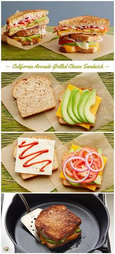 The ultimate grilled cheese sandwich with cheddar and pepper jack cheeses, fresh California Avocado, tomato, red onion and chili sauce. #easylunch