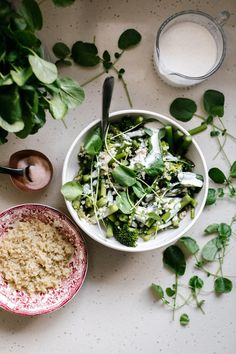 Spring Greens Salad w/ Garlic Sauce