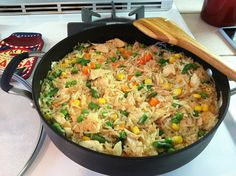 Rice-a-Roni with chicken and frozen veggies - good for college kids and busy people
