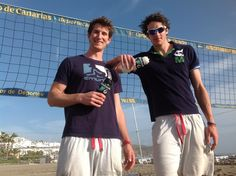 GBR Beach Volleyball Team, Chris Gregory & Jake Sheaf sporting their filter water bottles at their training camp in Tenerife! Volleyball Team, Beach Volleyball, Filtered Water Bottle, Water Bottles, Rio 2016, Tall Guys, Olympics, Mens Tops, Tenerife