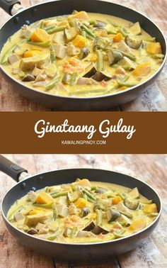 Ginataang Gulay is a hearty pork, shrimp and vegetable stew cooked in coconut milk; best served with steamed rice