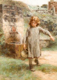 "Leon-Augustin L'hermitte Little Girl At The Fountain Oil on Canvas 57.15 x 41.28 cm (22½"" x 16¼"")"
