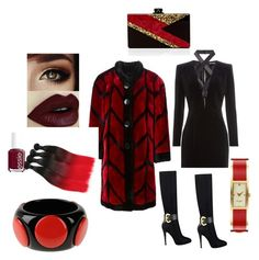 RED & BLACK by shaniamelville-1 on Polyvore featuring Balmain, Christian Dior, GUESS, Edie Parker, First People First, Kate Spade and Essie