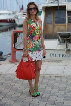 Mini dress for summer, tropical print dress, Longchamp le cuir bag, Fashion and Cookies