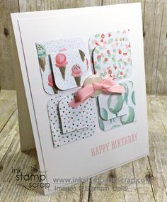 Birthday Bouquet Designer Series Paper will be gone soon - this Clean and Simple DIY Birthday Card uses just a few scraps! Copy this pattern and make your own squares card. Don't miss out on these retiring products - the list of available products gets smaller everyday.