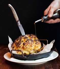 Whole Roasted Cauliflower with Whipped Goat Cheese Recipe by Bon Appetit Magazine | Maypurr