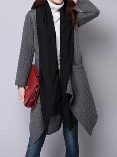 O-NEWE Elegant Women Long Sleeve Patchwork Irregular Thick Cardigan