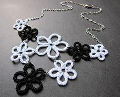 Black/White Tatted Flower Bib Necklace by spritzyfitzy, via Flickr